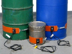 Heat drums with Morse drum band heaters and 5-gallon pail heaters
